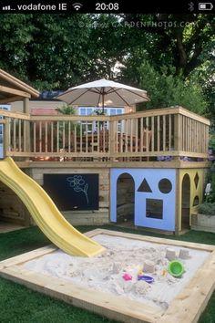 Find a tube slide to keep JJ safe?  Love blackboard down bottom - set up a shelf for chalk, sandpit toys.