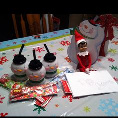 The note says:  To Hayley, Heather, and Piper for being so swell! An early Christmas present, from all of us elves! Merry Christmas to you, love your Elf on the Shelf!