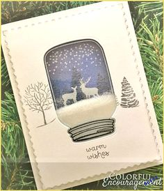 Jar Scene - Kimmy Henrickson - - Mason Jar Scene Mason jars and snow globes are everywhere this holiday season. What do you get when you combine them? Two amazing shaker cards! Mason Jar Cards, Mason Jar Diy, Winter Cards, Holiday Cards, Stampinup Christmas Cards, Christmas Cards 2018, Cricut Christmas Cards, Christmas 2019, Tarjetas Diy