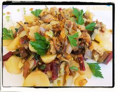 Ziemniaki zapiekane z botwiną - Roasted Potatoes With Beet Leaves - Patate con foglie di barbabietole in padella