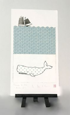 """Under the sea ... """"Whale & Sea"""" - Original Etching and Collage by freshandsilly on Etsy, $50,00"""