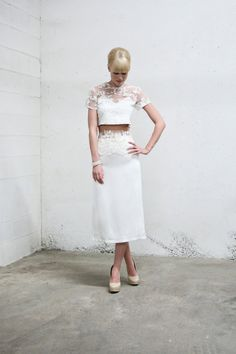 This Lovely Pencil Skirt Set | 36 Ultra-Glamorous Two-Piece Wedding Dresses