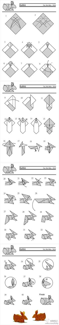Cute Origami Rabbit Folding Instructions | Origami Instruction on We Heart It