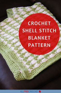 Crochet Shell Stitch Blanket Pattern All Free Crochet, Crochet Hats, Crochet Stitches For Blankets, Crochet Shell Stitch, Crochet Instructions, Afghan Crochet Patterns, Shells, Color, Knitting Hats