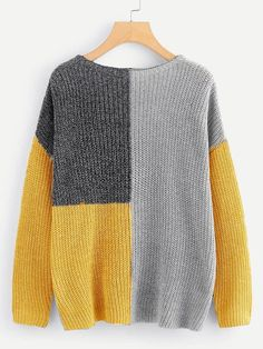 To find out about the Drop Shoulder Color-Block Jumper at SHEIN, part of our latest Sweaters ready to shop online today! Knit Fashion, Sweater Fashion, Sweater Outfits, Pullover Mode, Pullover Outfit, Diy Clothes, Clothes For Women, Casual Sweaters, Fall Sweaters