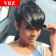 Brazilian Pixie Short Straight Human Hair wigs for Black Women Glueless Full Lace Human Hair Wigs With Baby Hair Wigs-in Human Wigs from Beauty & Health on Aliexpress.com | Alibaba Group