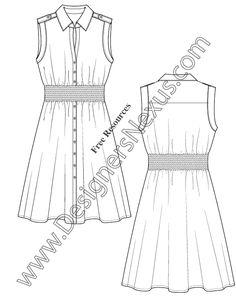Muscle Sleeve Shirtdress Fashion Flat Sketch Template Illustrator