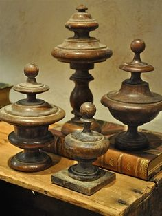wooden finials (*mix and match finials, bases and shapes collected from Jubilee, paint then put on table by closet)