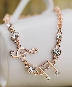 A Beautiful Gold Music Bracelet Ring Armband Saphir Rose Jewelry Noten