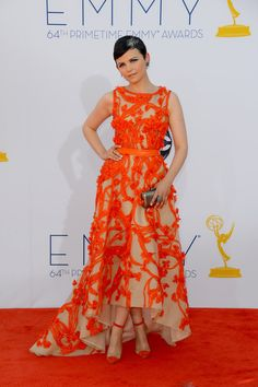 Ginnifer Goodwin donned a heavily embroidered orange gown by Monique Lhuillier.
