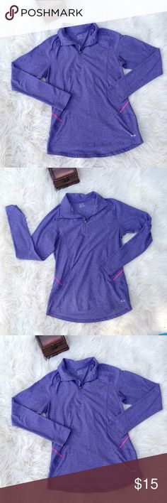 CHAMPION SEMI FITTED 3/4 ZIP PURPLE N PINK~ GREAT TOP TO WORK OUT IN ESPECIALLY WITH FALL COMING UP AND NEEDING TO LAYER FOR THIS TIMES IN THE PARK. SEMI FITTED SO KEEP HUGS THE BODY TO KEEP COMPLIMENT YOUR  FIGURE SO YOU CAN STAY CUTE WELL WORKING OUT AND NOT GET LOST IN THOSE BULKY OVER-SIZED SWEATERS Champion Tops Tees - Long Sleeve