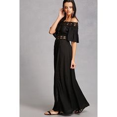 Forever21 Boho Me Off-the-Shoulder Dress (65 CAD) ❤ liked on Polyvore featuring dresses, black, off the shoulder maxi dress, maxi dresses, flutter sleeve maxi dress, short maxi dress and see-through dresses