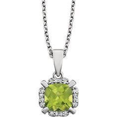"14kt White Gold Cushion Peridot & .05 CTW Diamond Halo 18"" Necklace"