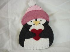 Penguin Ornament Decoration Primitive Christmas Felted Wool Applique