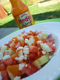 Franks Red Hot Cucumber Salad, I used blue cheese crumbles instead of the feta for more pop.  It's a good fresh salad!
