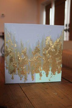 Toile abstraite de feuille d'or par GraceAndGraeDesigns sur Etsy