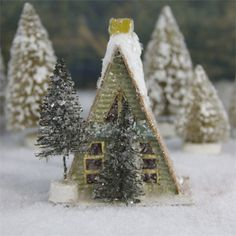 A Frame Putz Cabin | Small Glitter Christmas House