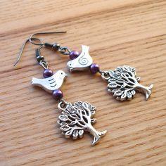 Tree and Bird Charm Bead Earrings £4.00
