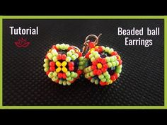 (1) Beaded Ball Earrings with Seed Beads- Tutorial - YouTube
