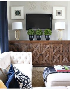 Love the cabinet and styled tv and wall