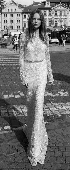 vintage sequins berta bridal wedding dress for fall 2015