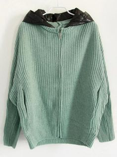 Linght Green Hooded Bat Sleeve Sweater$45.00