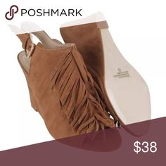 Allie Suede Fringe BOOTIES Wedges Tassel Sandals BRAND NEW in BOX!! Adorable Camel (Tan) Suede Wedge BOOTIES -- with padded foot beds & wide back straps, there's no need to sacrifice comfort to look super chic all season long!! BRAND NEW in BOX!! Shoes Ankle Boots & Booties