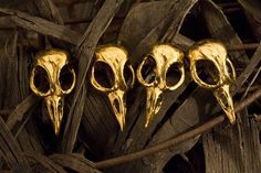 bird skull knobs antique gold plated by Blue Bayer by billyblue22, $18.50