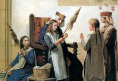Queen Berthe instructing girls to spin flax on spindles using distaffs, Albert Anker, 1888
