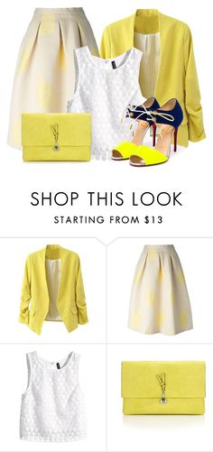 """""""White & Yellow"""" by leylabella ❤ liked on Polyvore featuring MSGM, H&M, Wallis and Christian Louboutin"""