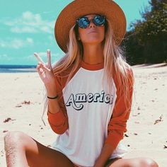 @the_salty_blonde sending peace to your week... in the #Wildfox Vintage America Sweater & Steff Sunglasses