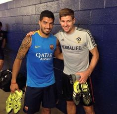 Barcelona face LA Galaxy on Tuesday in a friendly as part of their pre-season tour of the United States, setting up a reunion for two former Liverpool greats Luis Suarez and Steven Gerrard. Liverpool Players, Liverpool Fans, Liverpool Football Club, Gerrard Liverpool, Fc Barcelona, Barcelona Tattoo, Real Soccer, Soccer Stuff, Stevie G