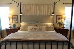 Master Bedroom Headboard To Cover Metal Bars . using plywood, foam mattress pad, spray adhesive, batting & fabric . Furniture Hardware, My Furniture, Bedroom Furniture, Mattress Pad, Foam Mattress, Kitchens To Go, Always Kiss Me Goodnight, Types Of Beds, Diy Headboards