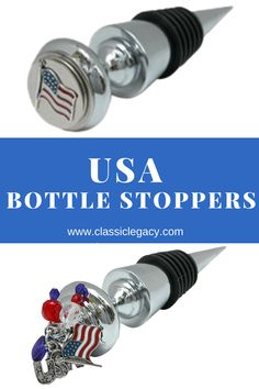 These wine bottle stoppers feature the American USA flag. Jewelry Dish, Shell Jewelry, Custom Wine Bottles, Brown Hotel, July 4th Holiday, Wine Bottle Design, Temple Design, Oyster Shells, Custom Plates