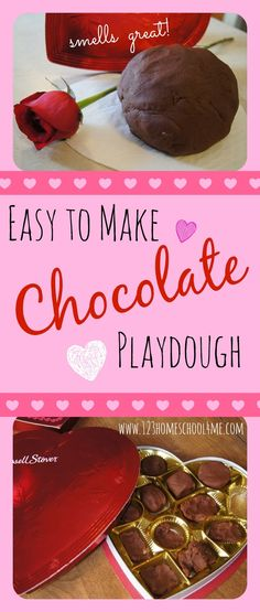 Chocolate Playdough Recipe - This is such a cool valentines day kids activity! This is an easy, homemade playdough recipe. What a fun way to play while enjoying the sweet smell of chocolate! Valentine Sensory, Valentine Theme, Valentines Day Activities, Valentine Day Crafts, Activities For Kids, Holiday Activities, Valentine Ideas, Sensory Activities, Valentine Nails