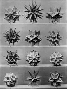 """Prof. Dr. Max Bruckner; Four Plates from the Book """"Vielecke und Vielflache"""", (1900). Regular convex polyhedra, frequently referenced as """"Platonic"""" solids, are featured prominently in the philosophy of..."""