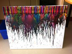 On the 100th day of school my students and I picked 100 favorite colored crayons and did a science experiment to see if a hair dryer would melt them. The kids loved this project and we ended up with some pretty great artwork for the classroom! Easy and fun for all!