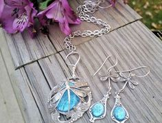 Aqua Opal Dragonfly Necklace and Earring Set by artistiquejewelry Opal Earrings, Opal Necklace, Pendant Necklace, Bridal Necklace, Bridal Jewelry, Blue Opal, Aqua Blue, Fall Gifts, Christmas Gifts