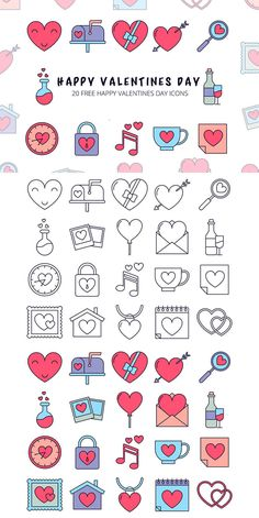 Happy Valentines Day Vector Icon Set is a collection of 20 icons dedicate to a wonderful holiday. It comes in 2 variations: colored and a linear. Doodle Drawings, Doodle Art, Vector Icons, Vector Free, Bullet Journal Banner, Doodle Icon, Instagram Highlight Icons, Cute Icons, Planner