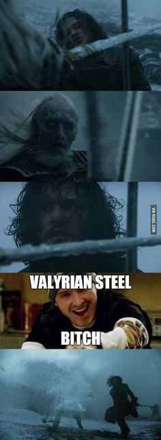 Jon Snow and his Valyrian Steel sword Winter Is Here, Winter Is Coming, Breking Bad, Game Of Thrones Meme, Got Memes, Kit Harrington, My Sun And Stars, Valar Morghulis, Valar Dohaeris