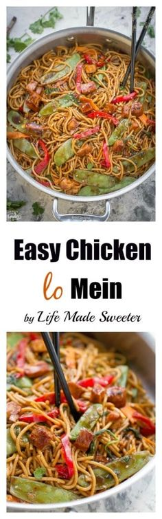 Easy Chicken Lo Mein takes less than 30 minutes to make for the perfect weeknight dish