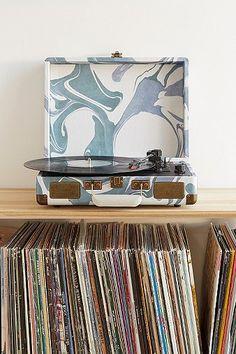 Crosley X UO Blue Marble Cruiser Briefcase Portable Vinyl Record Player
