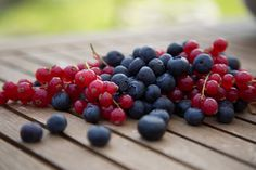 Red currant and blueberries