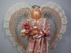 Vintage Angel Doll Natural Abaca Straw Mauve Pink Cream by 2lewa