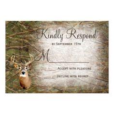 Rustic Camo Hunting Deer Antlers Wedding RSVP Custom Invitations