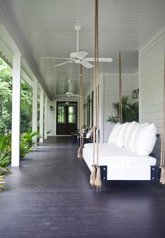Looking for ideas in decor for the swing/bed on the sleeping porch . . .