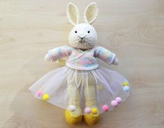 Knit Bunny Ballerina Rainbow Tutu Cute Knitted Stuffed Animal Easter Bunny Girl Knit Rabbit Doll Bunny Toy Valentines Day Gift This is a listing for MADE TO ORDER - Bunny Ballerina in Rainbow Cardigan and Tutu Skirt with Pom Poms. Inspired by Julie Williams. Suitable for playing or