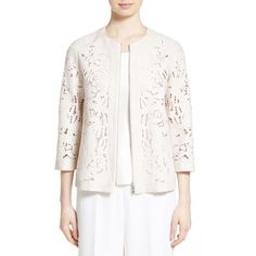 Women's Lafayette 148 New York Hadara Embroidered Cutout Jacket ($698) ❤ liked on Polyvore featuring outerwear, jackets, raffia, white lace jacket, lafayette 148 new york, lightweight jackets, light weight jacket and lace jacket