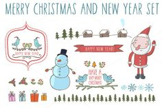 New Year set in funny cartoon style - Illustrations - 1