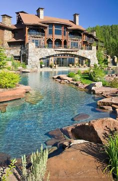 This is my dream.  Natural looking water feature... lazy river that leads to a pool with natural waterslide, grotto, etc.